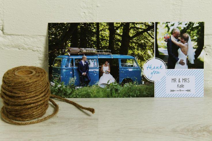Bedankkaartje Bruiloft Willem & Roos   Ontwerp Studio Prop - www.studio-prop.nl #StudioProp #Wedding #Thankyou #Bedankkaartje #blue #blauw