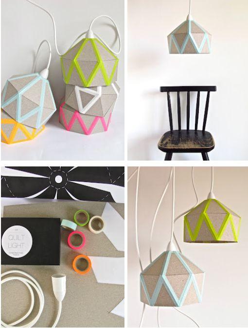 Lampenschirm aus Karton basteln und mit Masking-Tape modernisieren. Top!