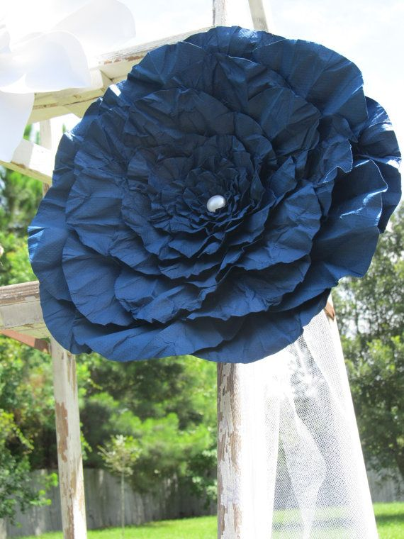 Black Friday Sale 10 Off Huge Navy Paper Flower Ready by mcfunk90, $23.40