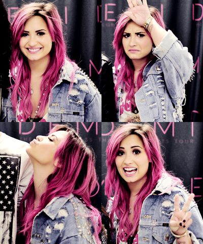 Demi Lovato with pink hair