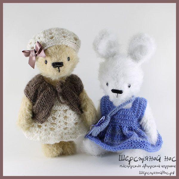 Вязаная мишка-тедди Любочка с зайкой