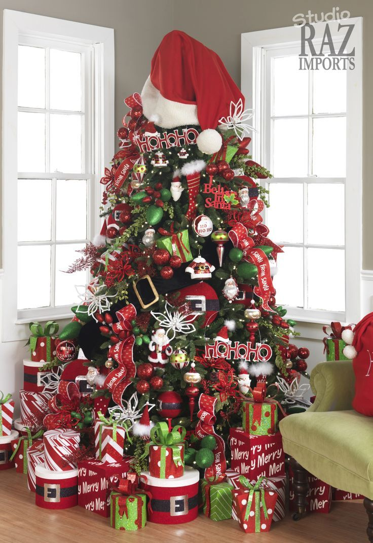 White christmas tree with red and gold decorations - Site Has Tons Of Christmas Trees And Decorating Ideas And Love The Big Santa Hat And Belt