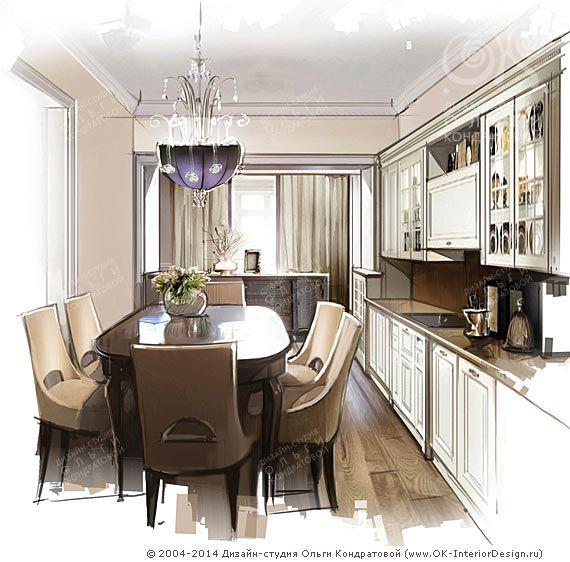 Эскиз интерьера кухни http://www.ok-interiordesign.ru/blog/dizayn-kuhni-modern-i-provans.html