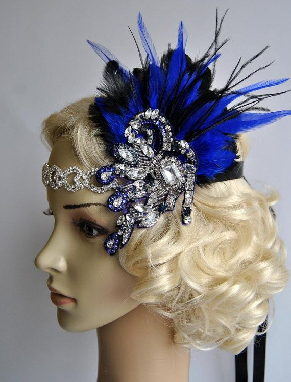 Splendor navy blue 1920s Rhinestone headband, Bridal Feather Fascinator, beaded Headband, 1920s Headpiece Bridal fascinator headband Wedding