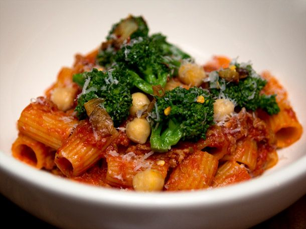 Rigatoni With broccoli rabe, nubs of pork sausage, and chickpeas
