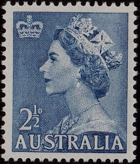 ACSC 294B) 1954. Queen Elizabeth II. 2½d. Perforation 15 x 14. No watermark. Pale Blue