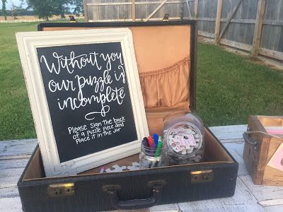 Wedding chalkboard sign. Without you our puzzle is incomplete chalkboard sign. Puzzle piece guestbook