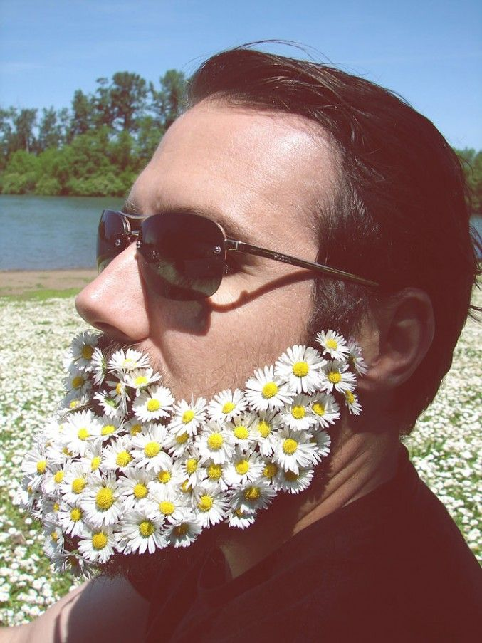 """Flower Beards"""" is a a new summer hipster trend of men decorating their beards with flowers…"""