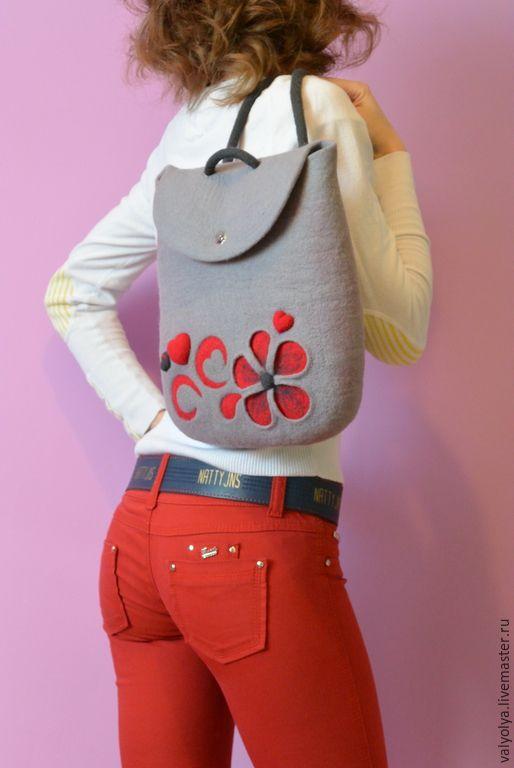 """Купить Рюкзак валяный """"Heart"""" - валяная сумка, женская сумка, войлочная сумка"""