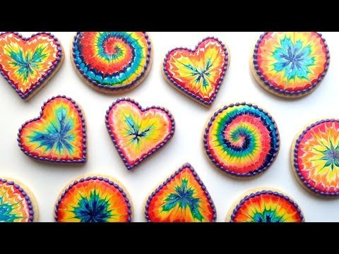 How To Decorate Rainbow Tie Dye Cookies With Royal Icing! - YouTube