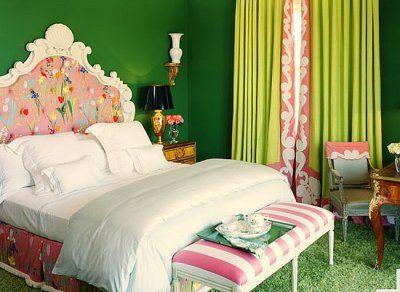 pink green bedroomGuest Room, Green Bedrooms, Beds, Little Girls Room, Green Wall, Colors, Interiors Design, Upholstered Headboards, Green Room