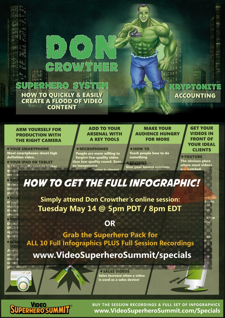 Don Crowther knows how to quickly and easily create tons of video content. He'll be sharing this superpower at the Video Superhero Summit. http://www.videosuperherosummit.com