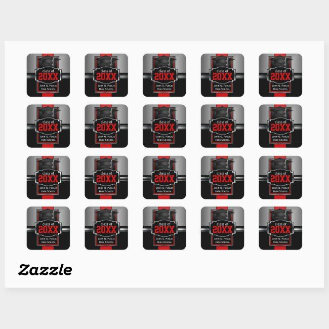 2021 2022 Red Graduation Year And School Square Sticker Zazzle Com Red Graduation Graduation Year Create Custom Stickers