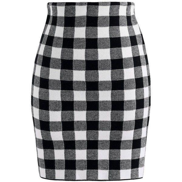 Chicwish Vivid Plaid Bud Skirt in Black ($37) ❤ liked on Polyvore featuring skirts, mini skirts, black, plaid miniskirts, plaid skirt, tartan mini skirt and short tartan skirt