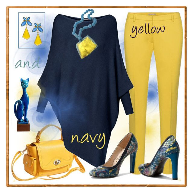 Navy and yellow plus cat ;-) by amisha73 on Polyvore featuring polyvore, fashion, style, Kanupriya and clothing