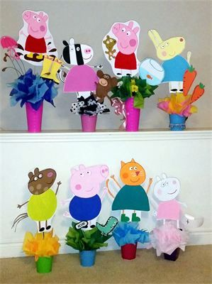 Peppa Pig Party : The Peppa Pig Gang is here all hand painted Centerpieces
