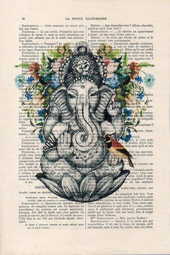205269ff6b635 Retro Ganesha Bird Botanical Flowers Yoga poster Meditating Buddha Zen Wall  Art Vintage Book Diction