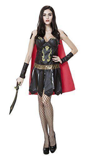 Goddess Of War Spain Gladiator Halloween Costume, M, Black Red