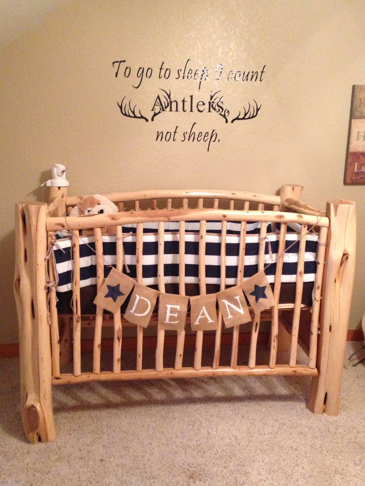 Country boy nursery. To go to sleep I count antlers, not sheep.