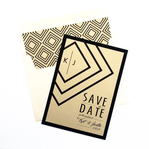 suit and tie save the date gold art deco wedding invitations and wedding. Black Bedroom Furniture Sets. Home Design Ideas