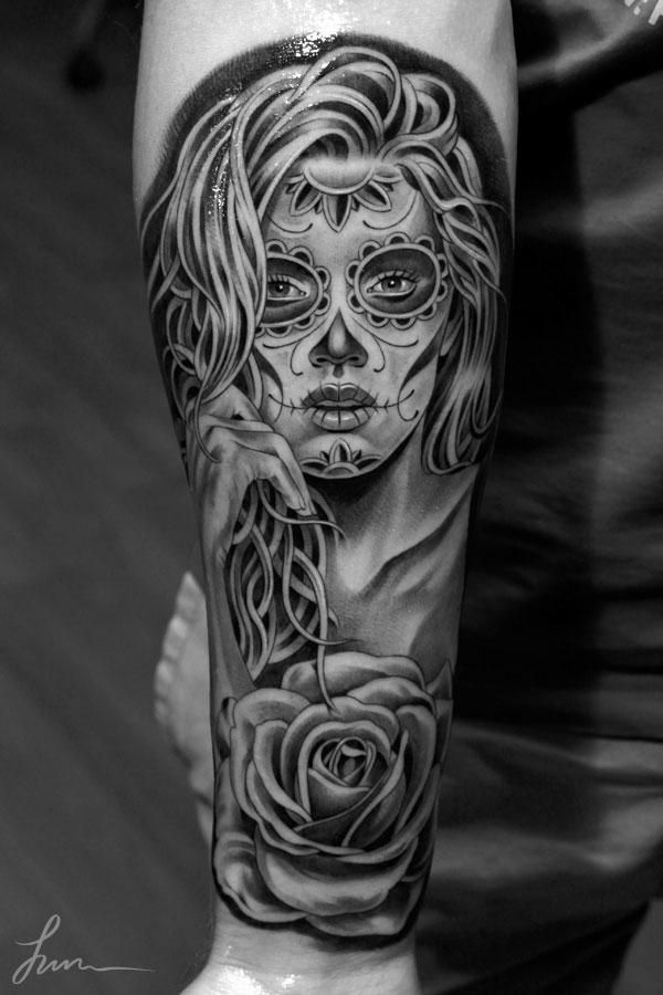 553110616 Black and White Sugar Skull Tattoo « Inked Inspiration. A collection of  free tattoo photos, pictures and design ideas | Tat possibilities | Sugar  skull ...