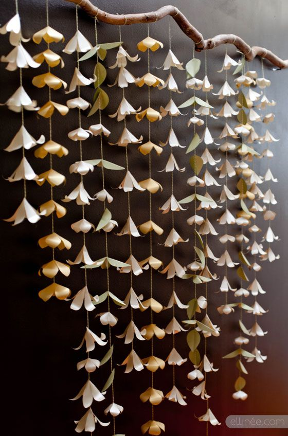 Paper Flower Backdrop Garland  -- with free Templates from Ellinée