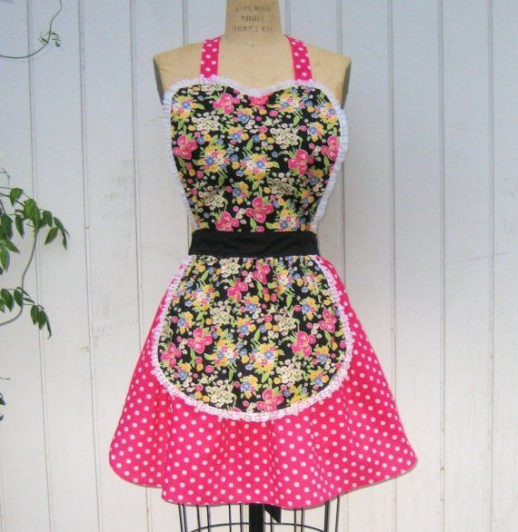 apron in Retro Pink BETSEY FLORAL with by loverdoversclothing, $29.99