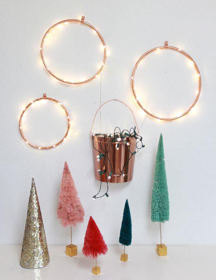 DIY Copper Lighted Wreaths #anthro bottle brush trees