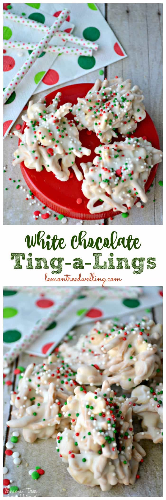 White Chocolate Ting-a Lings are one of our favorite holiday treats! Loaded with salty peanuts and crunchy chow mein noodles, then smothered in white chocolate and decorated with red, green & white Christmas sprinkles, they're the perfect salty-sweet no-bake treat. Also known as haystacks, spider cookies, chow mein clusters, and birds nest cookies, once you try them you'll know why they're everyone's FAVORITE! Perfect for gifting, too! So I mentioned that I had some friend...