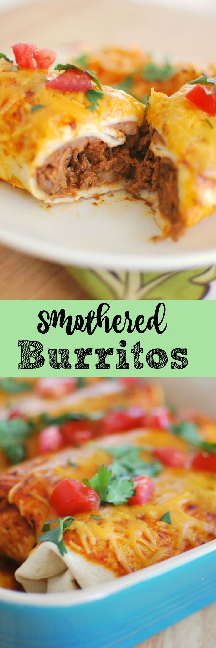 Smothered Burritos - beef cooked in the crockpot, wrapped in tortillas, and covered in sauce and cheese! So delicious!