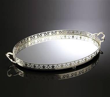 Oval Servis Tepsi Büyük Gümüş