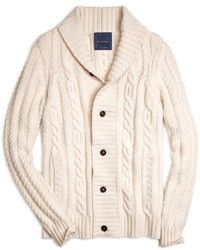 Brooks Brothers Cashmere Large Cable Cardigan