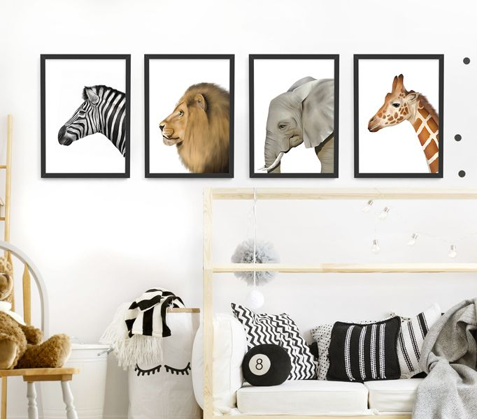 Who Doesn T Love Safari Animals If You Re Looking For Modern Wall Art This Set Of 4 Animal Framed Prints Would Ma Modern Wall Art Wall Gallery Safari Animals