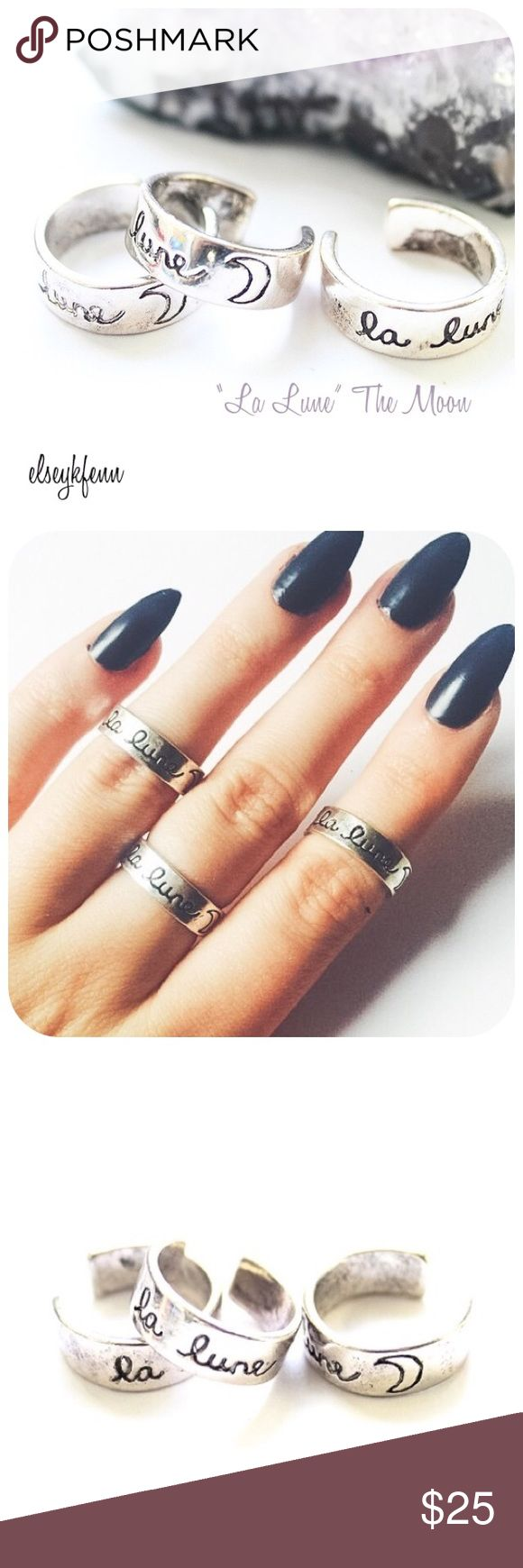 """BOGO 1/2 OFF❗️ [nip] La Lune ring """"La Lune"""" open-back ring translated from French meaning """"The Moon""""  Ring size 5.  May be worn normally or as a midi. Crafted base metal w/ antique silver finish. Hand-stamped in cursive writing beside a moon imprint. Handcrafted with love in the USA   no trades ∣ price firm ∣ brand new in manufacturer packaging     ♕ shop with confidence ♕ ☆☆☆ Suggested User ☆☆☆ Twilight Gypsy Collective Jewelry Rings"""