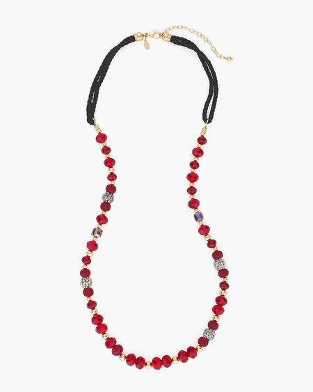 Be radiantly you in this black and red beaded necklace, spectacularly styled with silver-tone fireball accents.    Glass, acrylic, metal, polyester and cubic zirconia.  Imported.