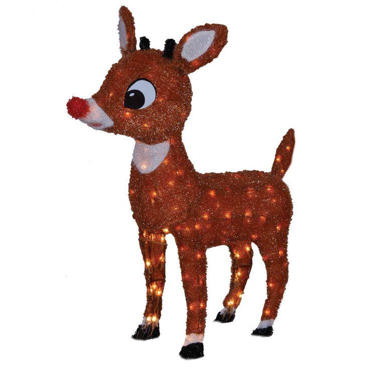 Décoration 66CM Rudolph pré-allumé en version 3D de Rudolph the Red Nosed