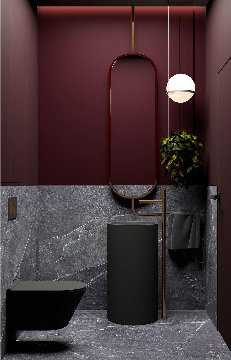 Dunkelrotes Bad Interior Design Trendfarbe Runde Lampe Grauer Mamor Using Polyurethanes Jus In 2020 Bathroom Design Decor Toilet Design Bathroom Styling