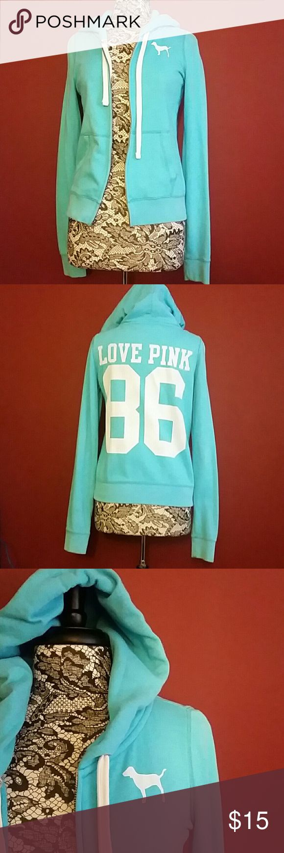 PINK light blue zip up hoodie. PINK light blue zip up hoodie. White PINk dog on front. Love Pink 86 on the back in white. PINK Victoria's Secret Tops Sweatshirts & Hoodies
