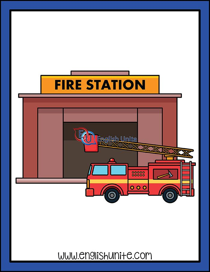 Fire Station Clipart : station, clipart, Building, Station, English, Unite, Station,, Community, Places,, Flashcards