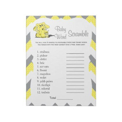Yellow & Gray  Elephant Baby Shower Word Game 2 Notepad - pattern sample design template diy cyo customize