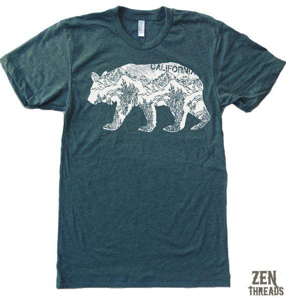 Mens California BEAR T Shirt american apparel S M L XL (16 Color Options). $18.00, via Etsy.
