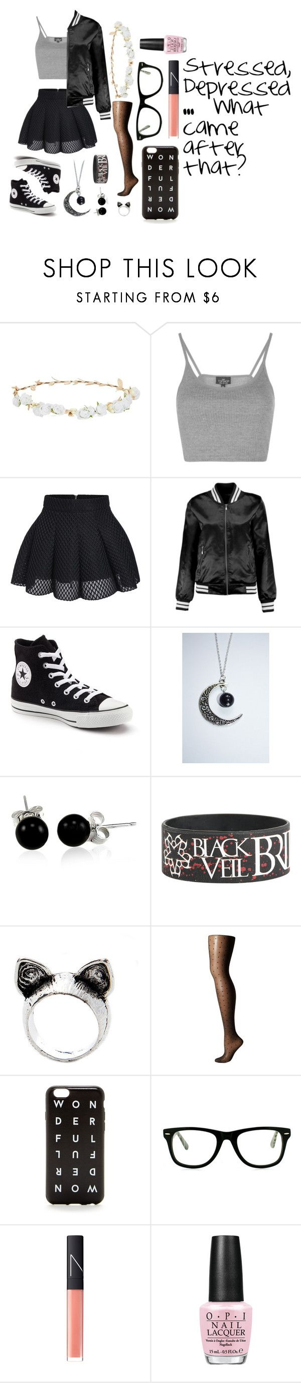"""""""What Came After That?"""" by emosarenottheminority ❤ liked on Polyvore featuring Robert Rose, Topshop, Converse, Bling Jewelry, Falke, J.Crew, Muse, NARS Cosmetics and OPI"""