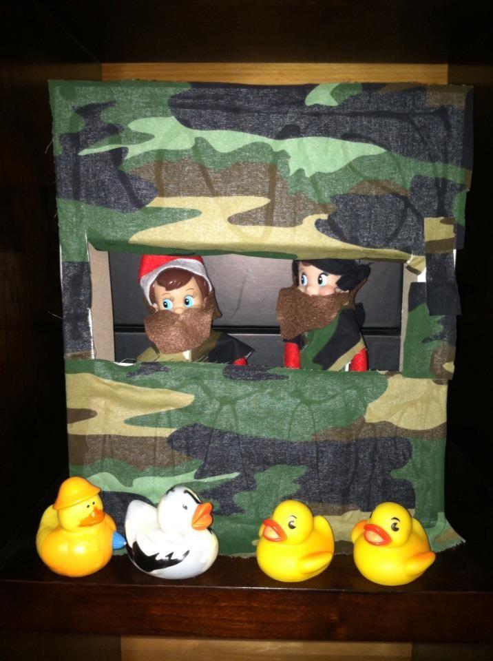 Elf on the Shelf Duck Dynasty version gift box with camo fabric and felt beards