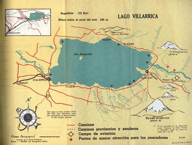 Lago Villarrica. Mapa de Guía de Pesca 1962 FF.CC del E. – Chile. Ferrocarriles del Estado.