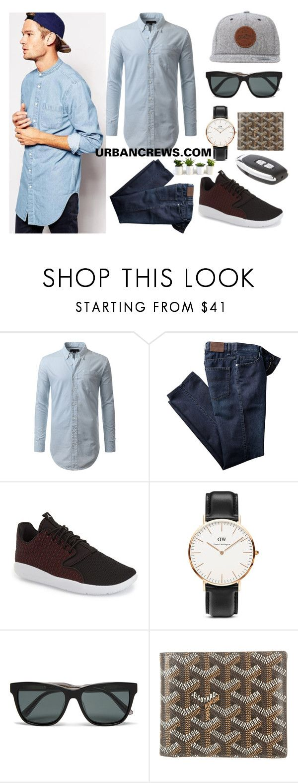 """URBANCREWS Mens Longline Denim Shirt Outfit"" by urbancleo ❤ liked on Polyvore featuring ASOS, DC Shoes, NIKE, Daniel Wellington, Bottega Veneta, Goyard, men's fashion and menswear"