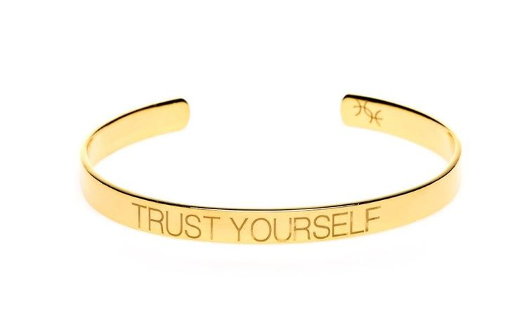 Power Quote TRUST YOURSELF Bracelet - HeidisHoff.no #gold #jewelry #designbyheidihoff #treasuresofempowerment