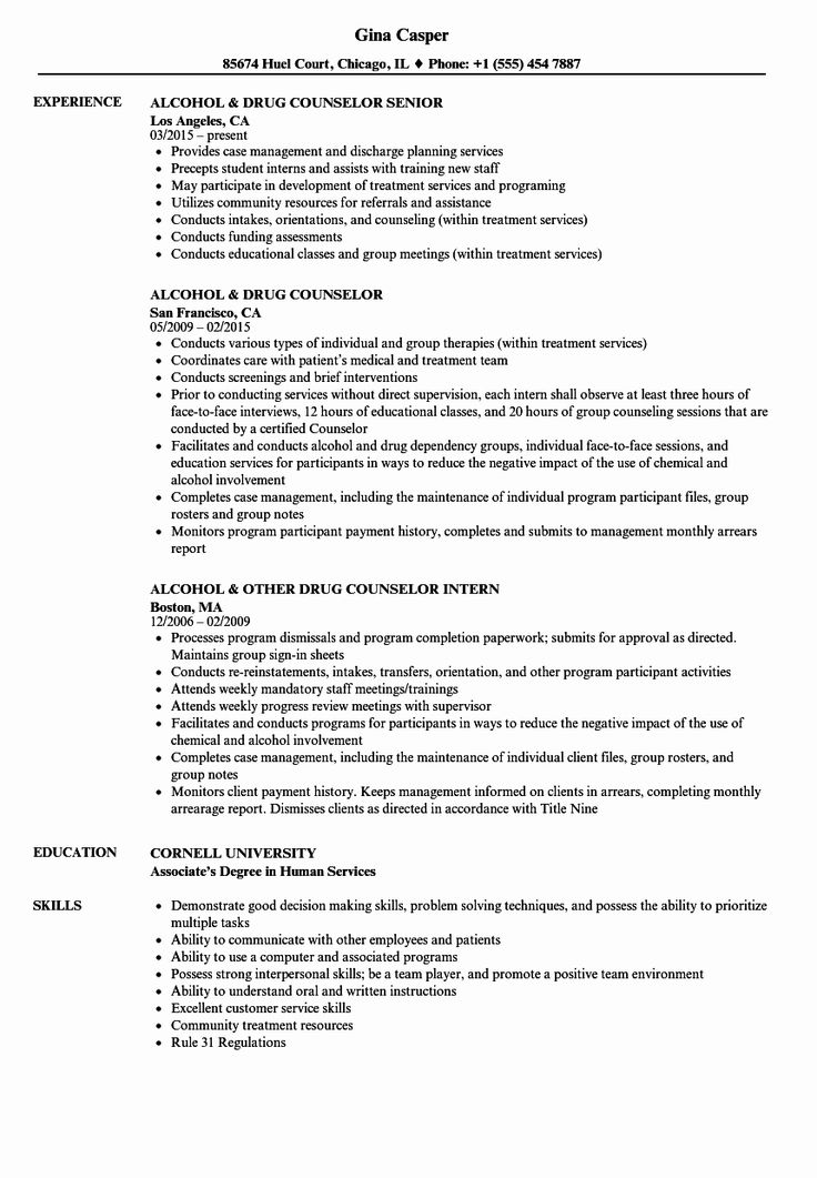 Entry Level Counselor Resume Inspirational Drug Counselor