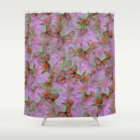 Monarch Mania Shower Curtain by LLL Creations. #society6 #showercurtains #homedecor #bathroom #butterfly #monarch #LLLCreations