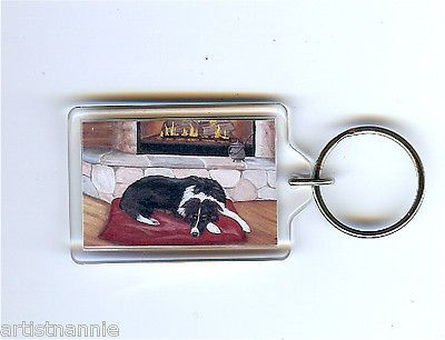 NFAC-Border-Collie-Black-White-Dog-Fireplace-Keychain-Keyring-Mini-Art-Print