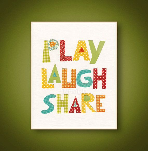 Play Laugh Share - Blue green red yellow orange Art for children - Kids wall art Playroom Family Room - Boys Girls Bedroom - 8x10 or 11x14 on Etsy, $14.00